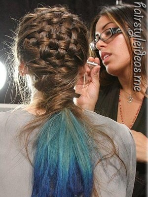 (stumbled on this at http://hairstyleideas.me ): French Braids, Braids Hairstyles, Baskets Weaving, Basketweav, Dips Dyes, Colors, Beautiful, Blue Hair, Hair Style