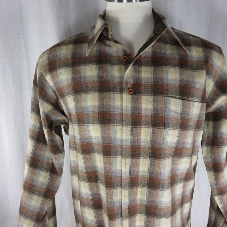 Vtg 1960s Pendleton L Tan Brown Wool Shirt Button Front USA Made | Clothing, Shoes & Accessories, Vintage, Men's Vintage Clothing | eBay!