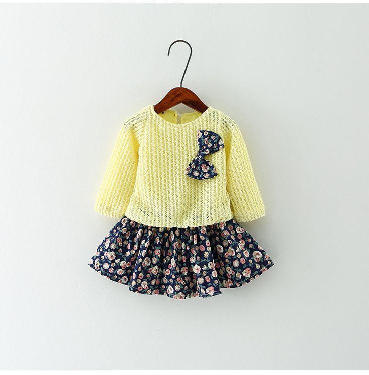 Musim panas Bayi Gadis Gaun 2016 Baru Putri Gaun Bayi Perempuan partai untuk Gaun Balita Gadis Pakaian lengan Panjang tutu Anak-anak pakaian
