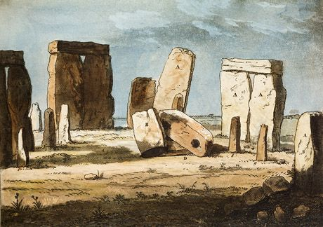 Watercolour of Stonehenge, painted some time before 1797, when one of the trilithons fell