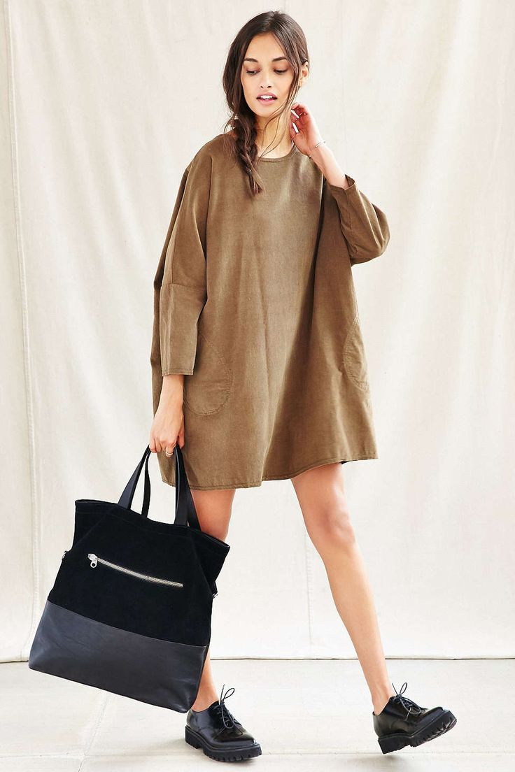 Urban Renewal Remade Corduroy Sack Dress - Urban Outfitters #oxfords