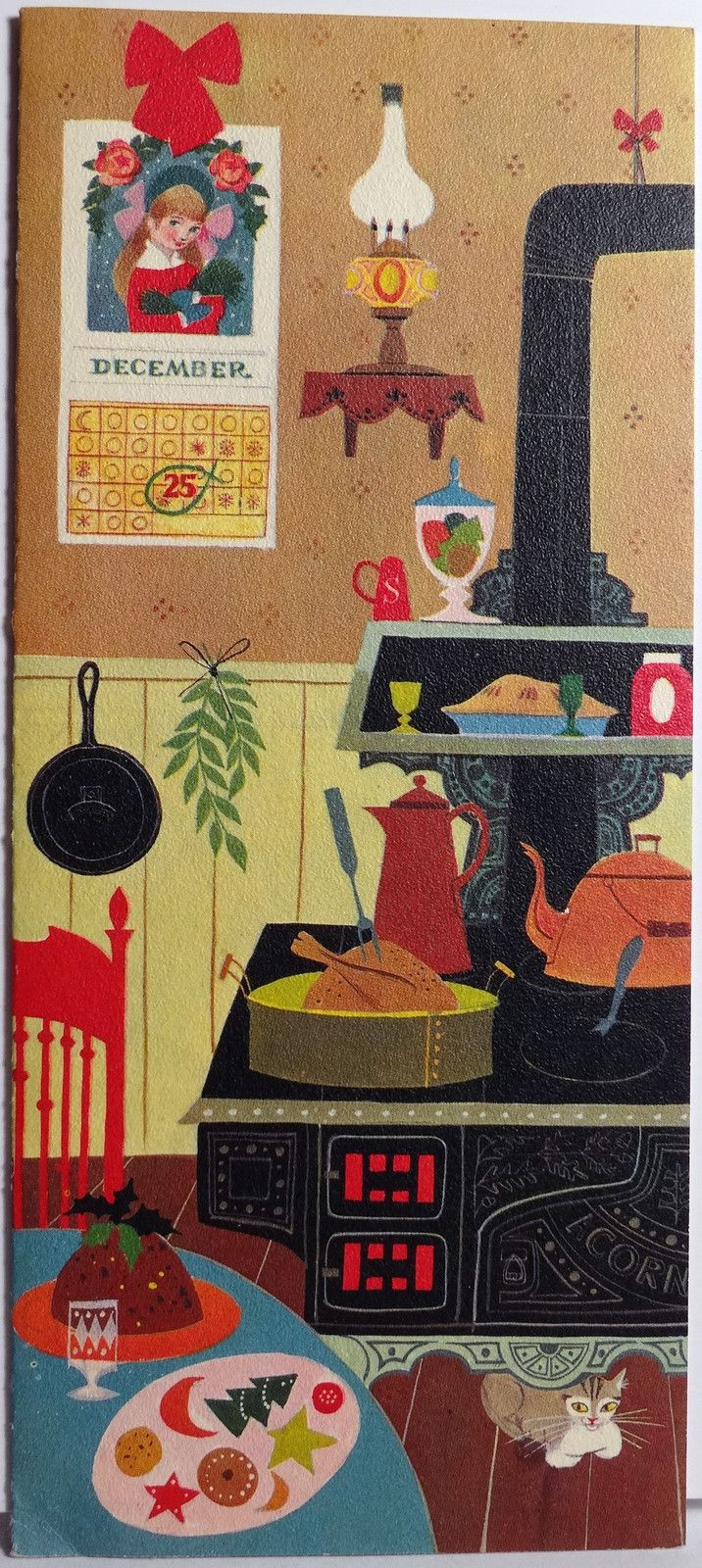 Hallmark Quaint Country Kitchen vintage Christmas card.