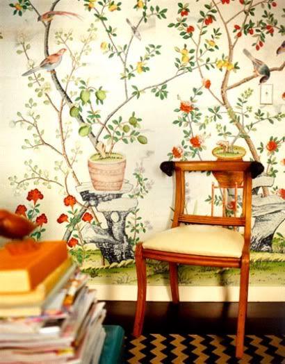 chinoiserie wallpaper, chevron rug