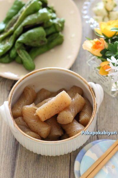 創味「京の和風だし」と言う、濃縮出汁を使用して、濃いめの常備菜に仕上げています。 「京の和風だし」がない場合は、薄口醤油やだし汁などで代用してください。  ◆3枚目の写真は、ざるそばと合わせた献立写真です。