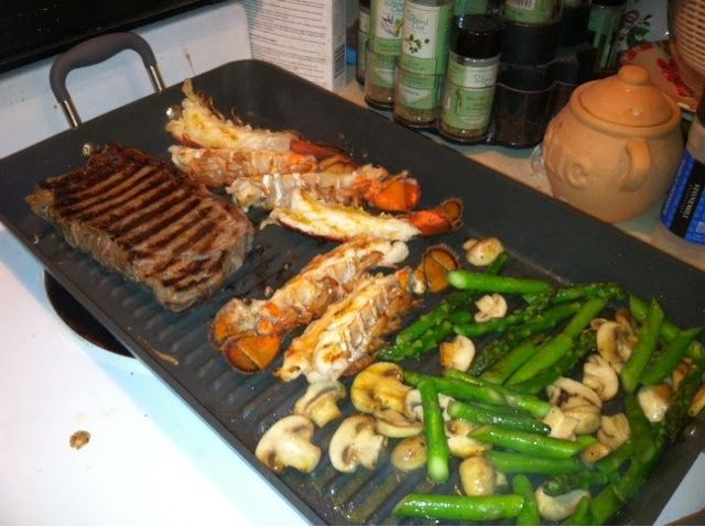 Grilled Steak & Lobster LOVE The Pampered Chef Double Burner Grill Pan!!!
