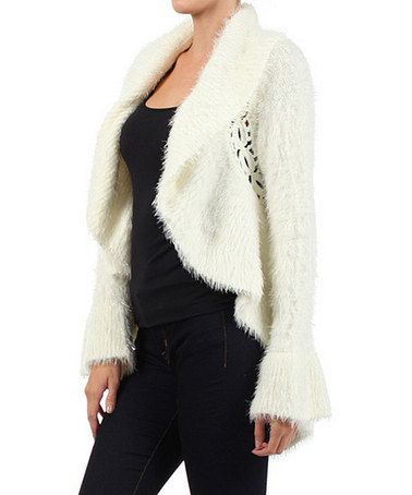 Take a look at this Off-White Open Cardigan by Michael K on #zulily today!