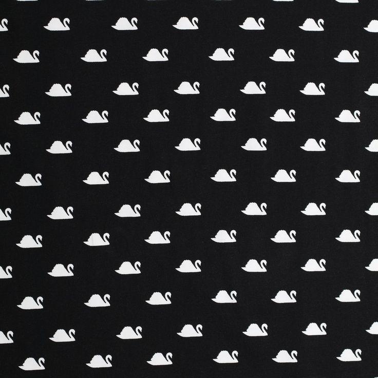 zwart katoen stretch jersey met witte zwanen bedrukt milliblus