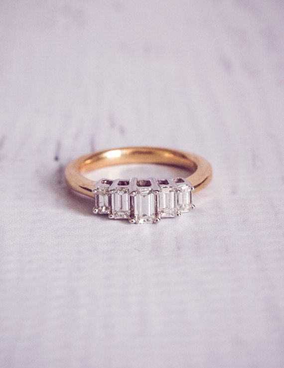 1960 s Style Baguette Diamond Engagement Ring 0 71 ct