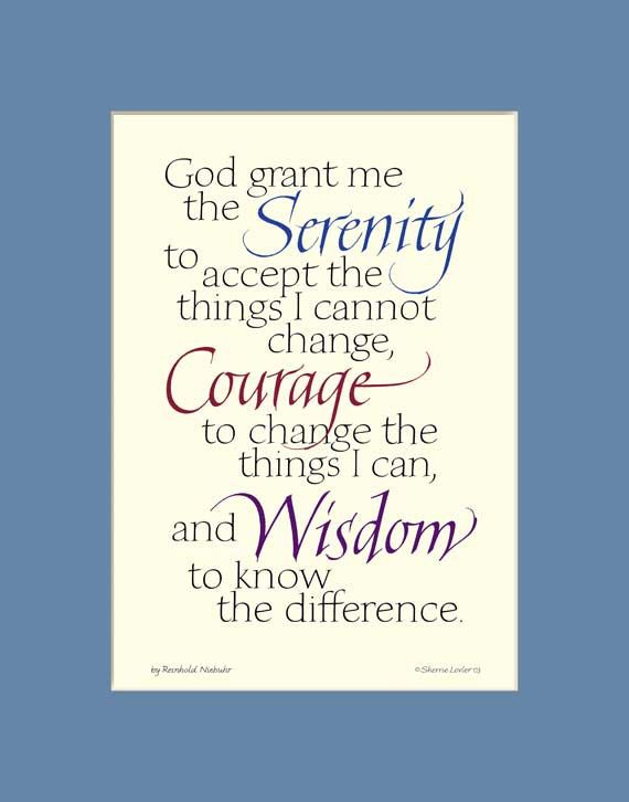 Serenity Prayer print, aa quote, Serenity Prayer wall art, inspirational calligraphy print 11x14 by InkMonkeyPress on Etsy https://www.etsy.com/listing/111989770/serenity-prayer-print-aa-quote-serenity