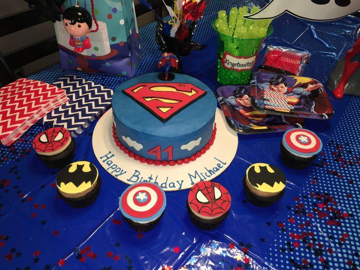Superman cake and superhero cupcakes for Michael's 41st birthday. Smallcakes Cupcakery, Williamsburg VA