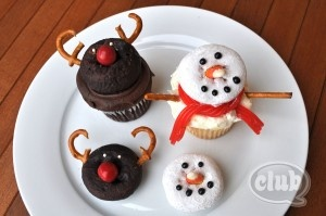 Fun and easy reindeer and snowman cupcake treats - great for a classroom holiday party!