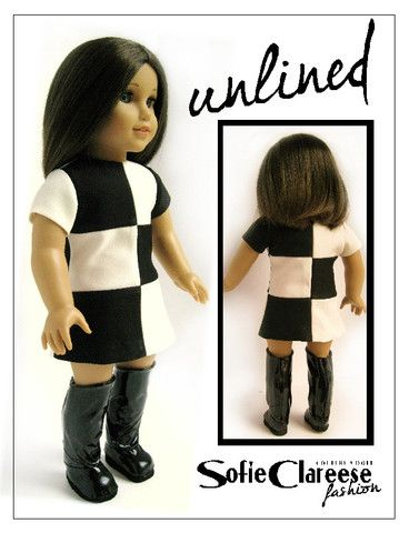 Sofie Clareese Fashion Mod Block Dress 18 inch Doll Clothes Pattern PDF Download | Pixie Faire