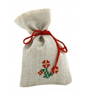 Description: Embroidered Linen bag for Aromatic Herbs. The fabric is a combination of cotton and polyester. The embroidery is made by hand. The cord is crocheted by hand with cotton yarn. The bag is doubled in the interior. The bag can be filled with aromatic herbs and condiments - lavander, cinamon, mint, rozmarin, basil. An unique art craft product. The pattern can be reproduced, never been perfectly identical with the previous, being a handmade product.  Dimensions: 13 x 8 cm.