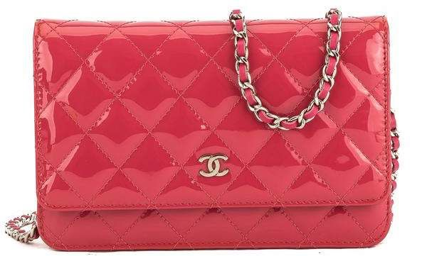 a29b01cba964e1 Pink Quilted Patent Leather Brilliant Wallet On Chain WOC Bag | All ...