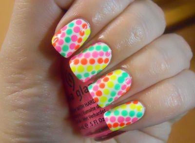 nail art neon polka dot nails: Nailart, Nails Design, Neon Dots, Polkadot, Nails Art Idea, Polka Dots Nails, Neon Nails, Nails Art Design, Art Pictures