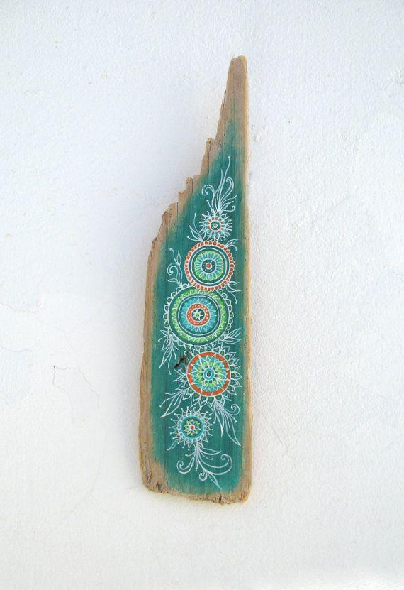 Hand Painted Rustic Driftwood Wall Sculpture With Colourful Mandala Pattern, Boho Wall Decor, Beach Art Item, Bohemian Art,Rustic Art.