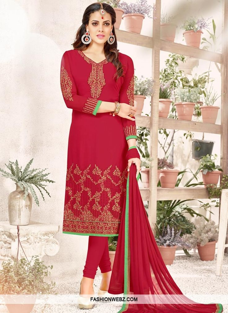 Get the simplicity and grace with this #red faux #georgette #trendy #churidar #salwarkameez.