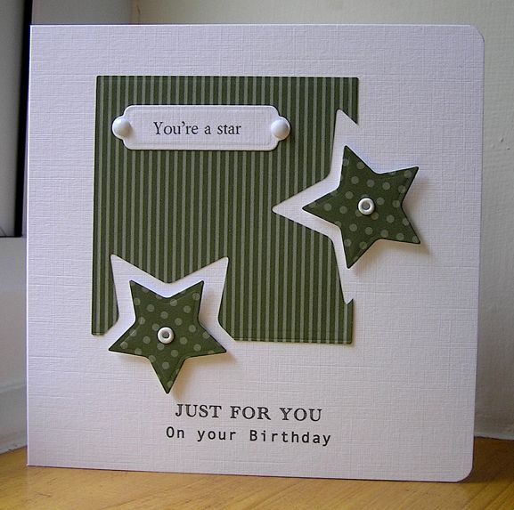 Stars by: Chrissys4cards. Great way to use the star punch..... Judi Carpenter will try this with the Full Heart Punch by Stampin' Up! for a cute Valentine