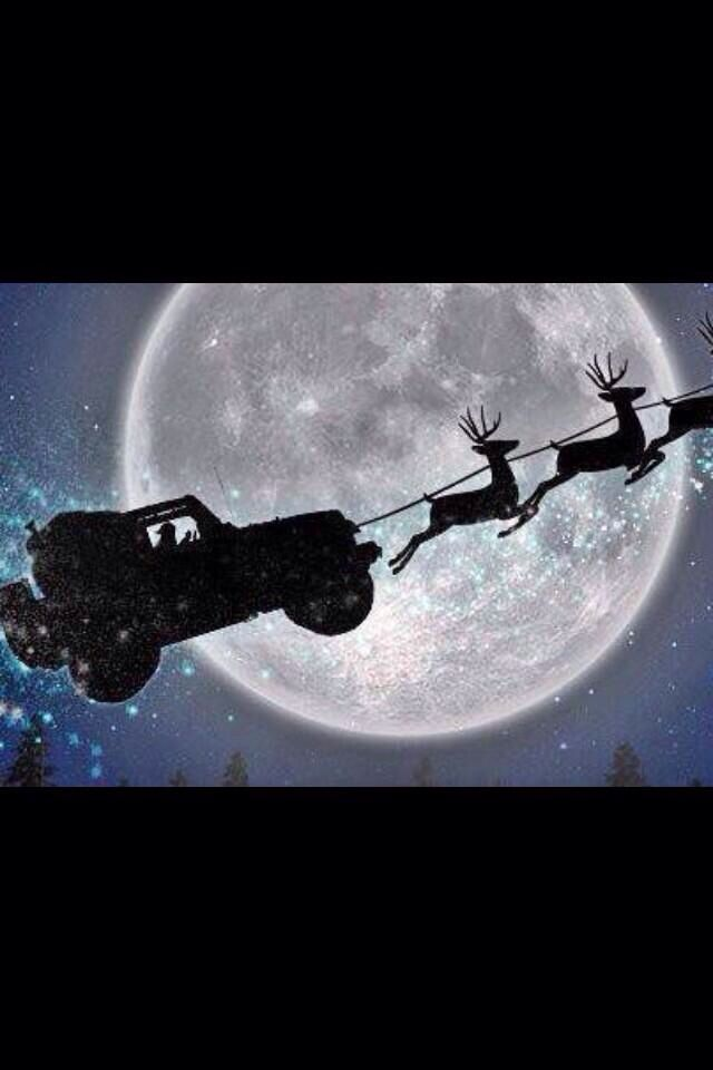 Everyone knows Santa drives a red jeep