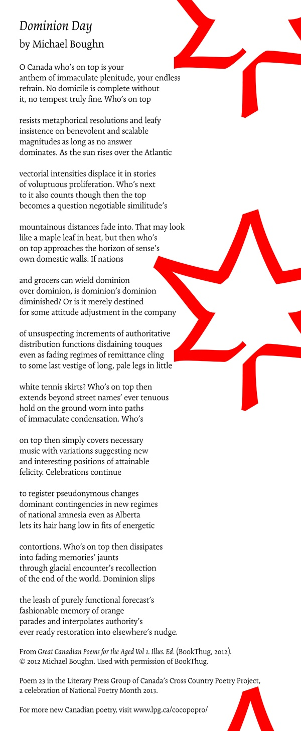 Poetry Month Day 18: Dominion Day by Michael Boughn, from Great Canadian Poems for the Aged, Vol. 1 Illus. Ed. (BookThug)
