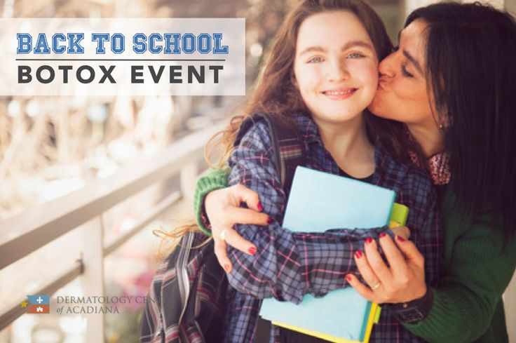 In a few weeks, summer break will be over and the kids will head back to school. Get back to your life fresh-faced!   Come to our Back to School Botox event on August 23rd and get Botox for the discounted pricing of $10 per unit! Make an appointment today and save your spot: call (337) 235-6886 or email info@dermcenterofacadiana.com.