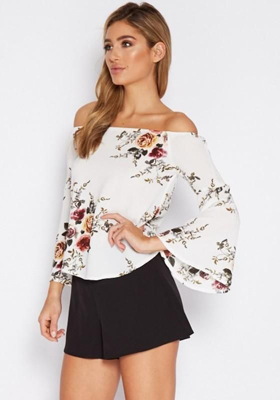 7138410c15c2e White Floral Print Boat Neck Off-shoulder Flare Sleeve Oversized Blouse