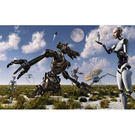 A gathering of different types of robots Canvas Art - Mark StevensonStocktrek Images (18 x 12)