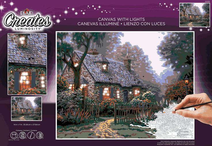 New for Thomas Kinkade are paint by number kits on canvas with lighting! These kits feature fine details and with extra colors included, and require no blending. Plaid's new Thomas Kinkade kits will inspire painters of all ages. Learn more: https://thomaskinkade.com/news/plaid-paint-by-numbers-luminosity-canvas/?ref=13