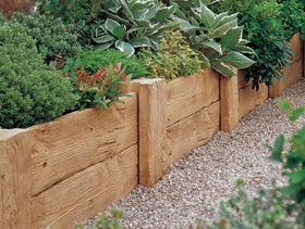 73 best images about garden ideas on pinterest gardens for Wooden flower bed borders