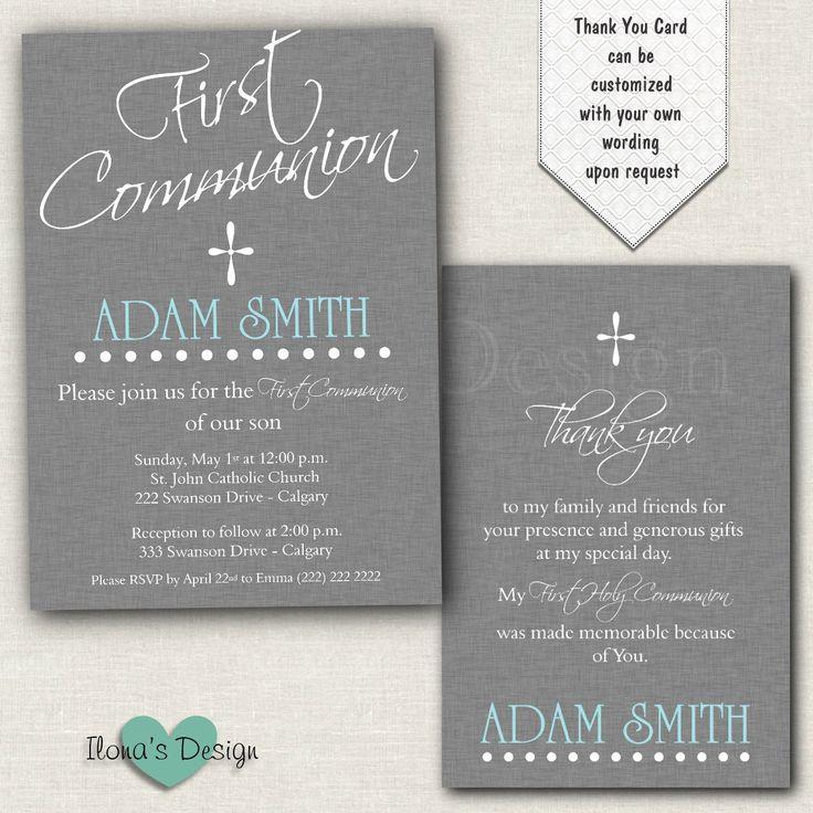 Boy First Communion Invitation - Grey 1st Communion Invitation - Printable by IlonasDesign on Etsy https://www.etsy.com/listing/224861064/boy-first-communion-invitation-grey-1st