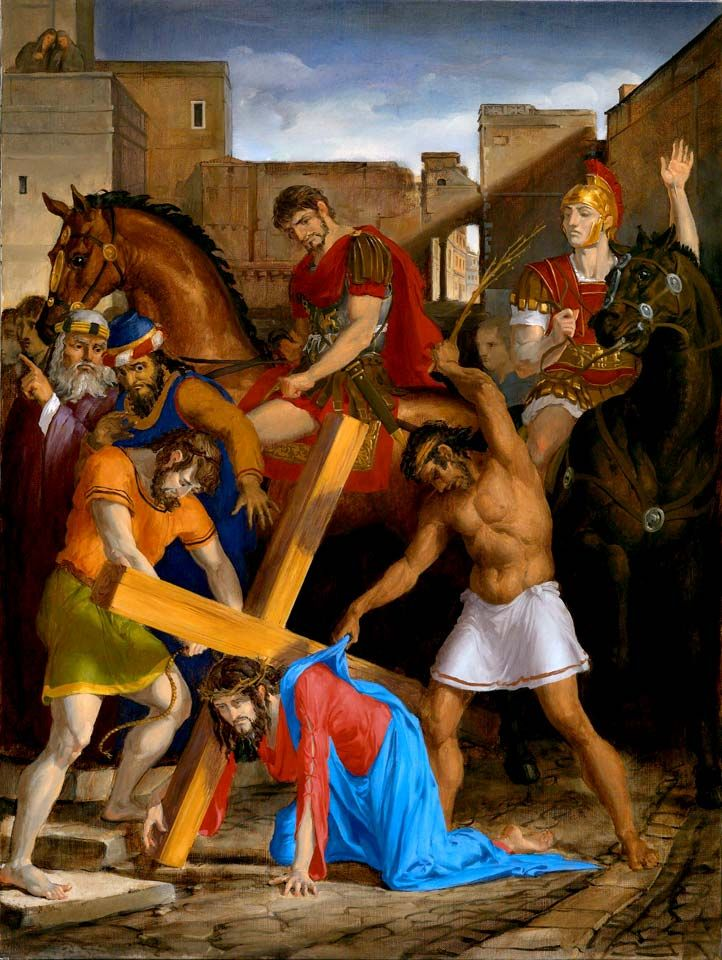 The Fourteen Stations Of The Cross painted by Leonard Porter. Station 3 - Where Christ falls the first time under the Cross.