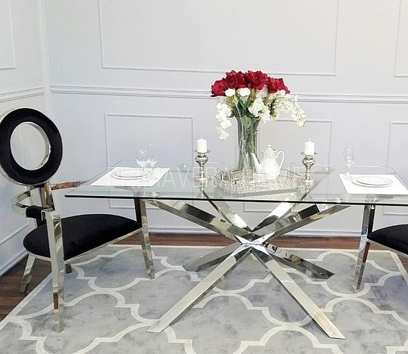 Stół do jadalni stal szklany przeźroczysty nowoczesny styl glamour srebrny ERMANNO