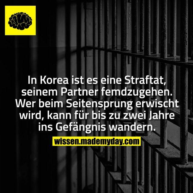 In Korea ist es eine Straftat, seinem Partner femdzugehen. Wer beim Seitensprung erwischt wird, kann für bis zu zwei Jahre ins Gefängnis wandern.