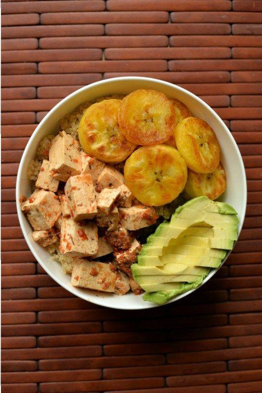 Jerk Tofu and Fried Plantains with Quinoa and Avocado