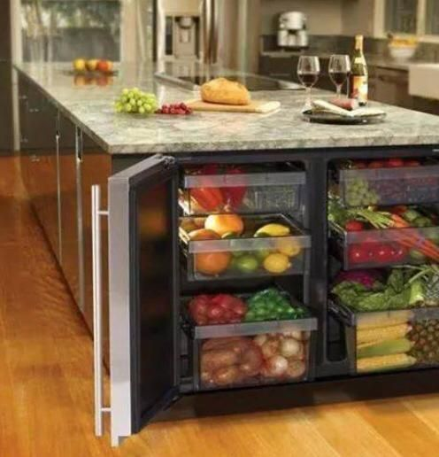 Refrigerador embutido na bancada.
