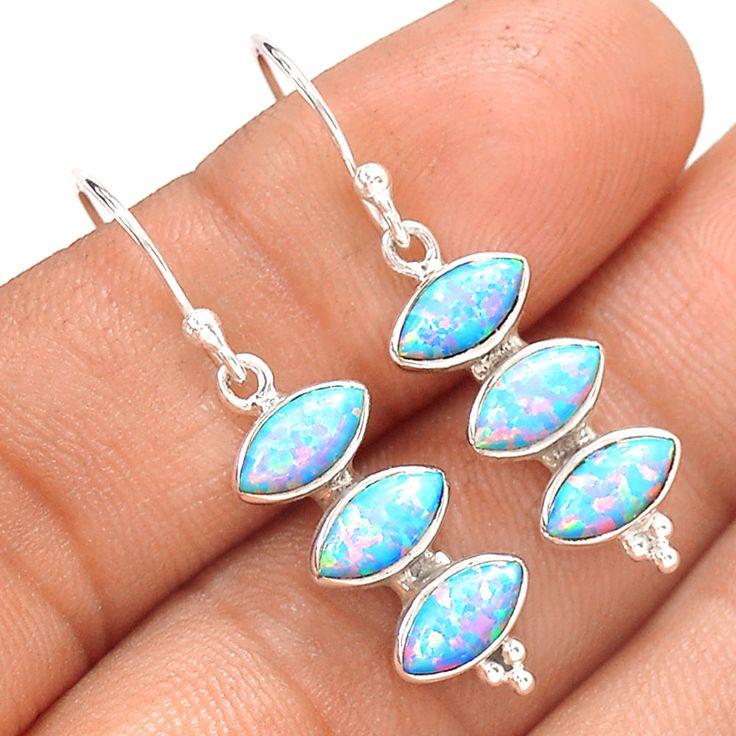 Fire Opal 925 Sterling Silver Earrings Jewelry SE138283 | eBay