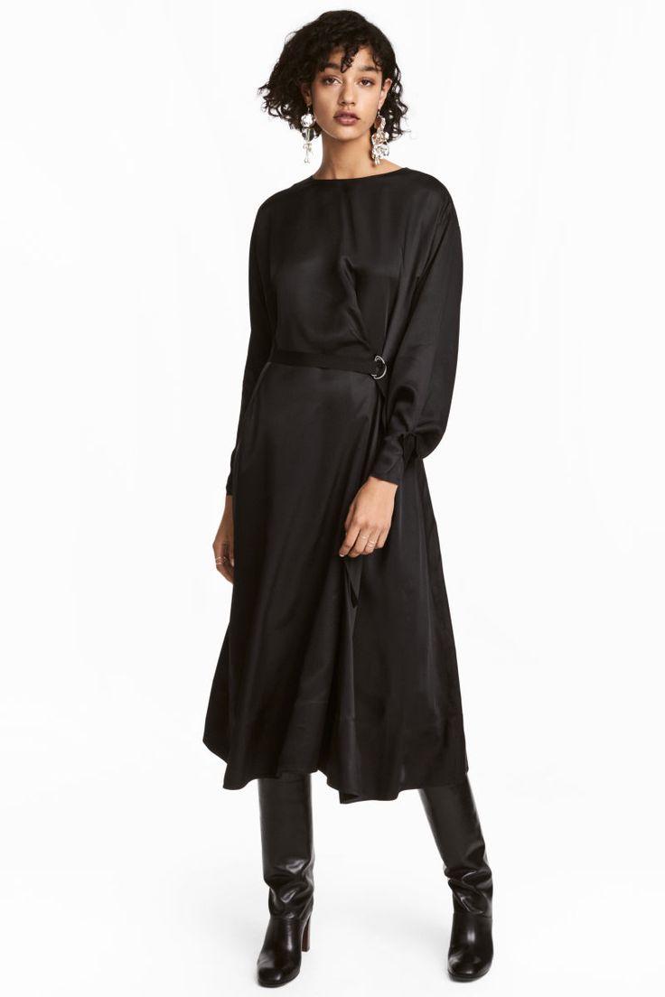 drapiertes kleid | schwarz | damen | h&m de | modestil