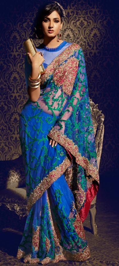 $331.09 Sonal Chauhan in Blue Resham Work Net Bollywood Saree 22887