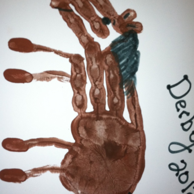 Horse Hand Print Paint Palm And Fur Fingers No Thumb On