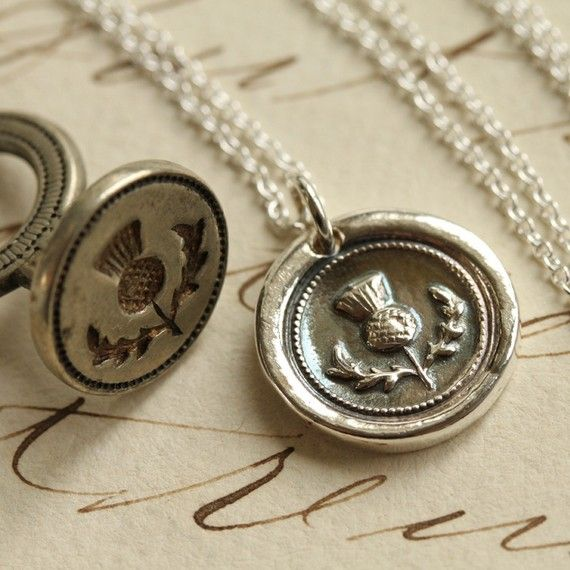 Scottish Thistle Wax Seal Necklace  Fine Silver by Englady on Etsy, $38.00