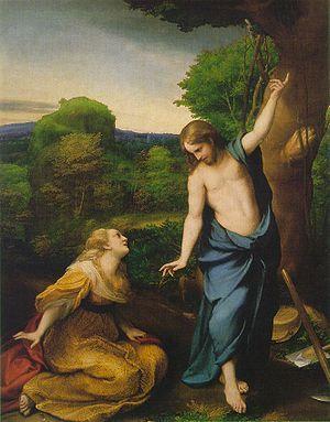 Noli me tangere 1515 -- Antonio Allegri da Correggio, Óleo sobre tabla • Manierismo Museo del Prado, Madrid, España