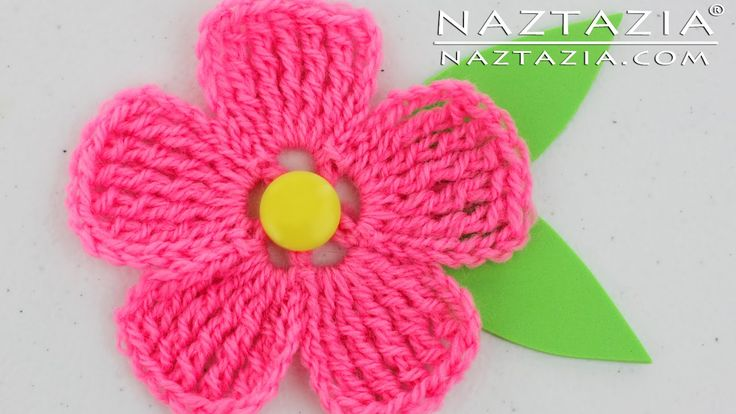 DIY Learn How to Crochet a Flower for a Hat Purse or Shawl Tutorial Flowers with YouTube Tutorial Video by Naztazia