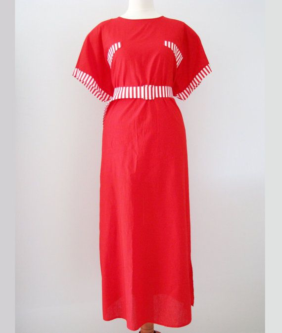 80s Bright Red Candy Stripe Dress w/ Striped Belt, mint condition, M-L-XL