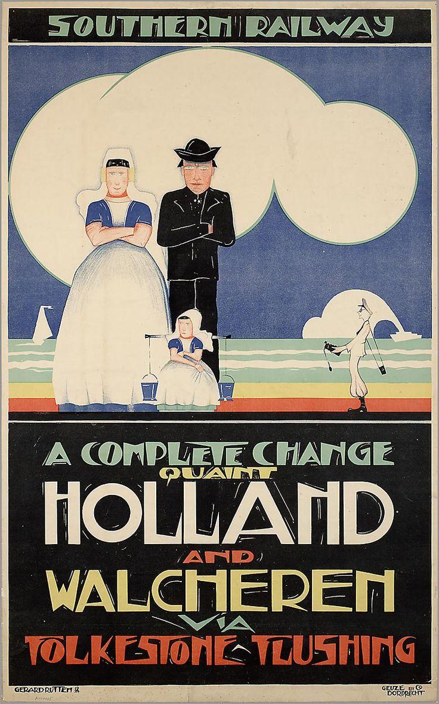 Southern Railway. A Complete change quaint Holland and Walcheren via Folkstone-Flushing. 1924-1925 ontwerper/artdirector: Rutten, Gerard #Zeeland #Walcheren