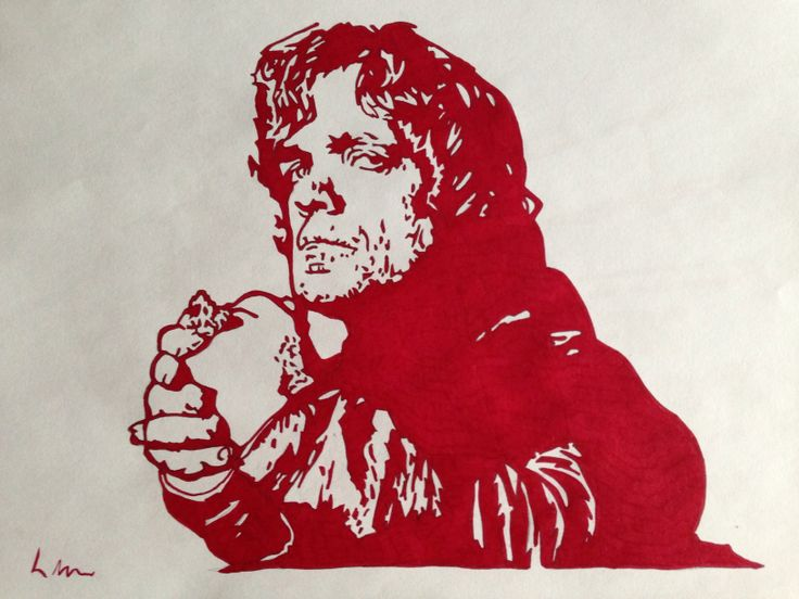 Game of Thrones, Tyrion Lannister, Red fineliner, A4