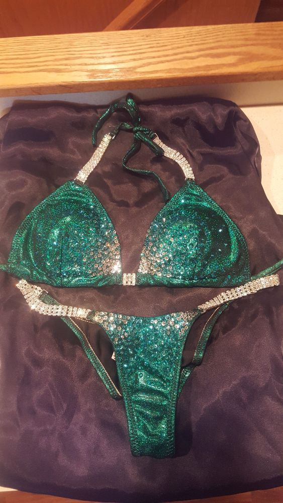 655f0b703b8a5 NPC competition bikini emerald green with Swarovski Crystals. Used only  once. #fashion #clothing #shoes #accessories #womensclothing #swimwear  (ebay link)