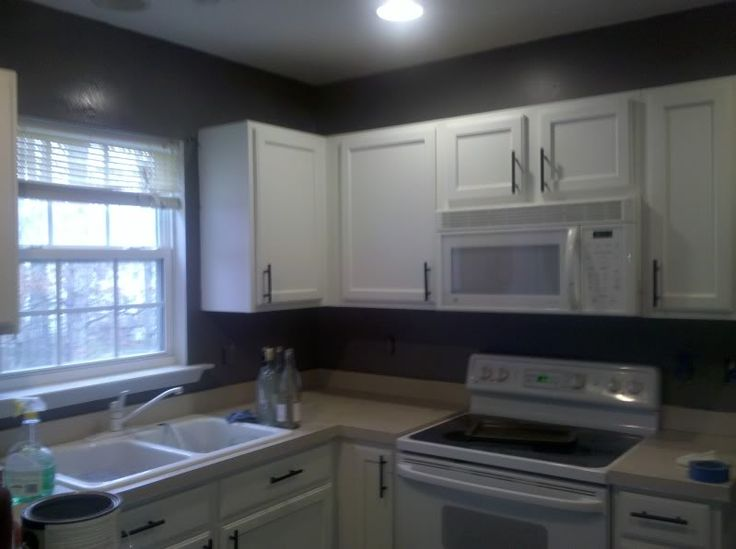 Dark gray kitchen walls with white cabinets during for Grey kitchen cabinets what colour walls