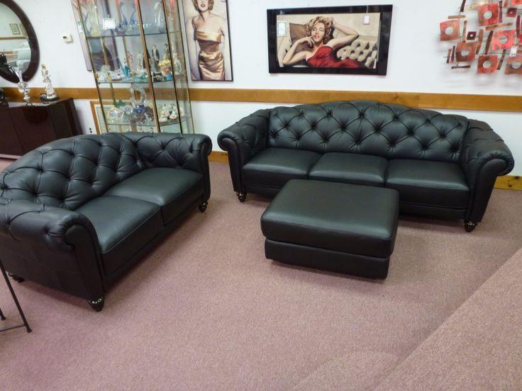 Natuzzi Editions Black Leather Sofa Love Seat And