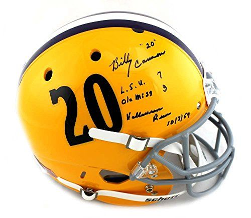 Billy Cannon Signed LSU Tigers Schutt Throwback Full Size Helmet with LSU 7 Ole Miss 3 Halloween Run 10/31/1959 Inscript @ niftywarehouse.com #NiftyWarehouse #Halloween #Scary #Fun #Ideas