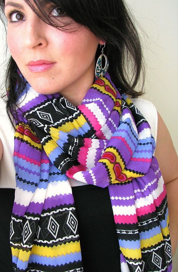 Tribal Print Chiffon Scarf Bohemian Spring by FeathersandFancy, $36.00